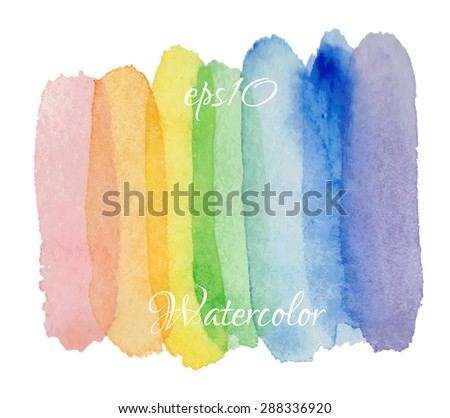 Abstract hand drawn watercolor background.  Vector texture element. rainbow watercolor - stock vector