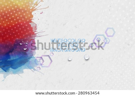 Abstract hand drawn watercolor background with empty place for text message, great composition for your design, grunge style vector illustration. - stock vector