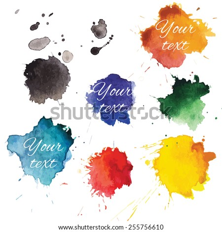 Abstract hand drawn watercolor blots background. Vector illustration. - stock vector