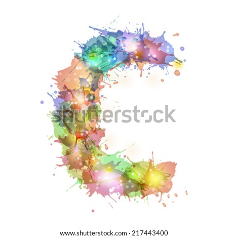 abstract hand drawn watercolor blots font, letter c