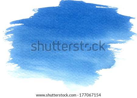 Abstract hand drawn watercolor blue stain background  - stock vector