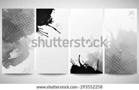 Abstract hand drawn watercolor gray-black background with empty place for text message, great composition for your design. Monochrome banners collection, abstract flyer layouts, vector templates