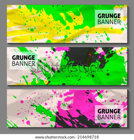 abstract hand painted watercolor ink grunge vector banner set for your business presentation. vector grunge background on crumpled paper. art background