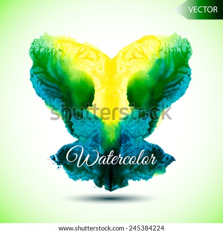 abstract hand painted watercolor ink rorschach grunge vector background - stock vector