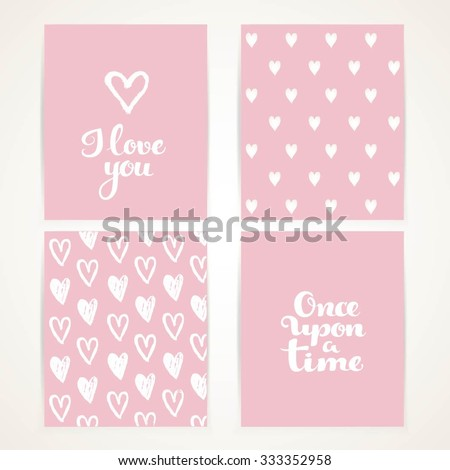 Abstract hand-painted white hearts on pink banner set with I love you and once upon a time calligraphic inscription for invitation, greeting cards or thanks - stock vector