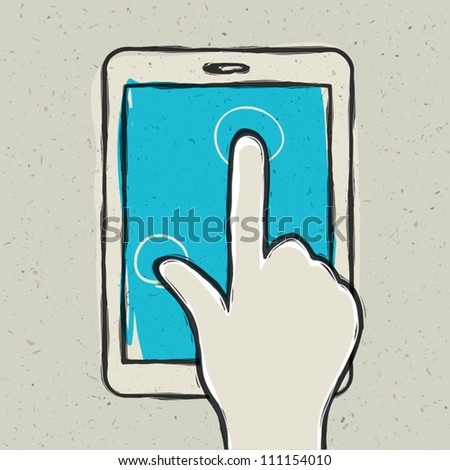 Abstract hand touching digital tablet. Vector illustration, EPS10 - stock vector