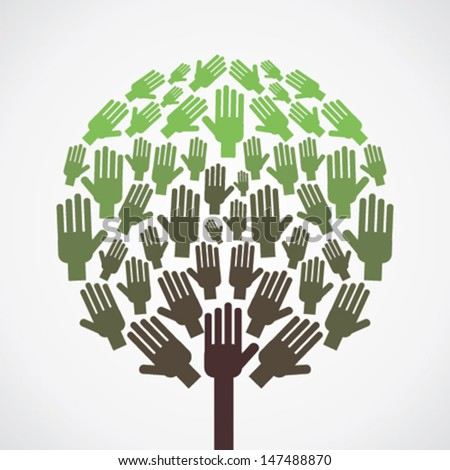 abstract hand tree show unity concept vector - stock vector