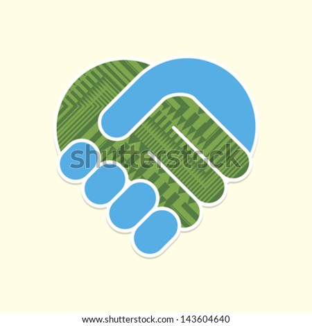 Abstract handshake. Vector. - stock vector