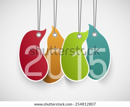 abstract hanging colorful tags with number 2015