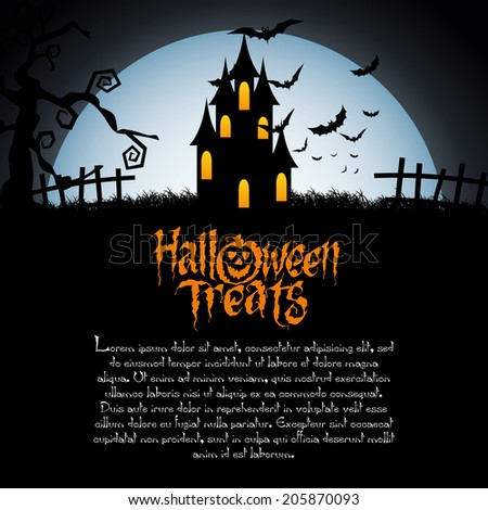 abstract happy halloween background with special objects