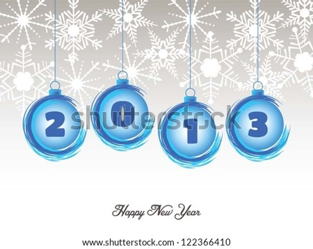 Abstract Happy New Year 2013 blue balls greeting card - stock vector