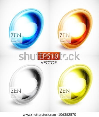 Abstract harmonious zen glass stone composition