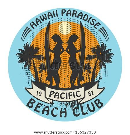 Abstract Hawaii surfer club sign, vector illustration - stock vector