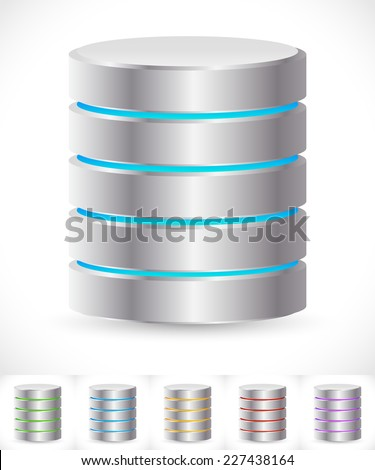 Abstract HDD cylinders with lively colors. Technology, file or web storage. Hosting, server, mainframe or super computer, Archive, backup concepts / icons. - stock vector