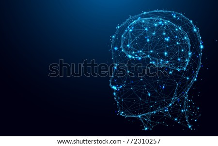 Abstract Head and brain from lines and triangles, point connecting network on blue background. Illustration vector