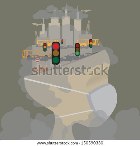 Abstract head of pollution in the city. Pollution concept. Vector - stock vector