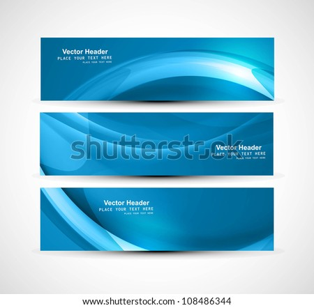 Abstract header blue shiny wave vector design - stock vector