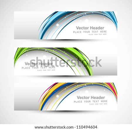 Abstract header line colorful wave technology vector illustration - stock vector