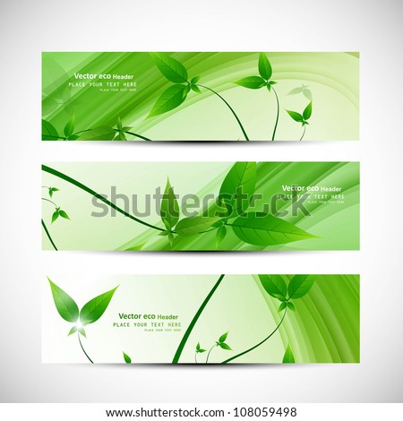 abstract header natural eco green lives wave vector design - stock vector