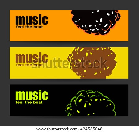 Abstract header or banner set with flat discount offer. Feel the beat. Creative design. Free music images. Festival Vector mock up. DJ poster design. DJ background. Vector. Isolated. - stock vector