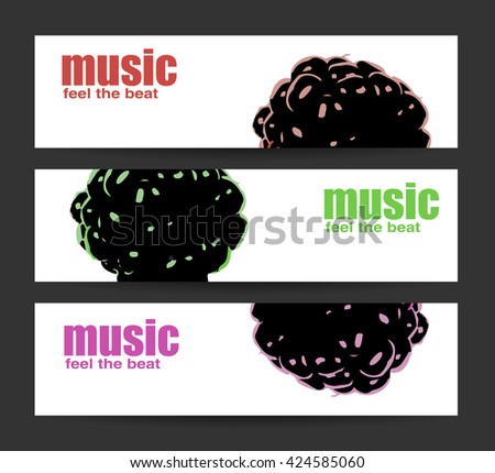 Abstract header or banner set with flat discount offer.  Feel the beat. Creative design. Free music images. Festival Vector mock-up. DJ poster design. DJ background. Vector. Isolated. - stock vector