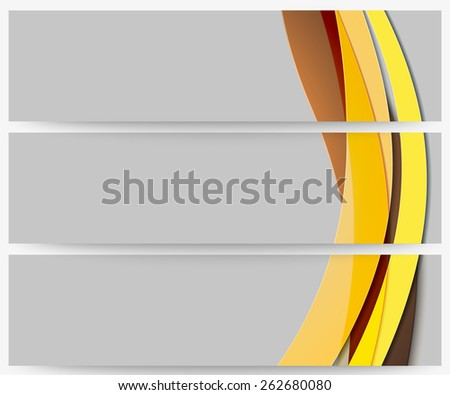 Abstract headers set, colored wave vector design. - stock vector