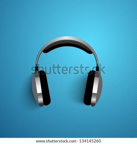 Abstract headphone background, flyer, poster or banner with text Music. - stock vector