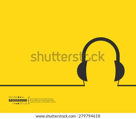 Abstract headphones vector background. For web and mobile applications, illustration template design, creative business info graphic, brochure, banner, presentation, concept poster, cover, booklet, document. - stock vector