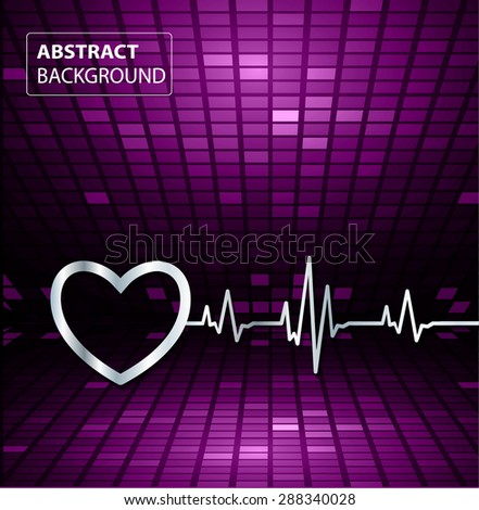 Abstract heart beats cardiogram illustration. vector. Pixels, Mosaic, Table. text box. card. dark purple backgrounds.
