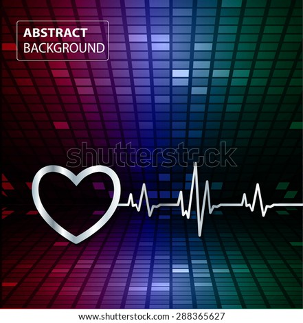 Abstract heart beats cardiogram illustration. vector. Pixels, Mosaic, Table. text box. card. red blue green backgrounds.