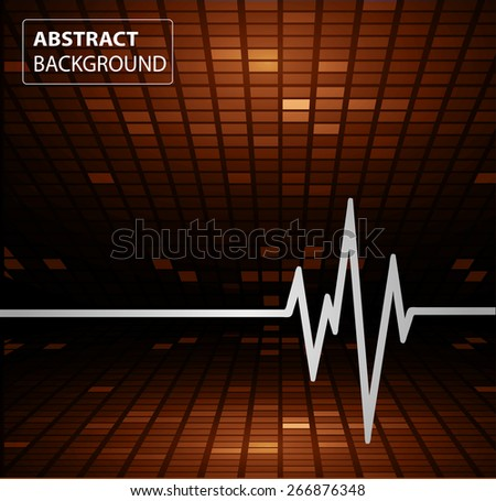 Abstract heart beats cardiogram. Pulse icon. brown background. Mosaic table, pixels - stock vector