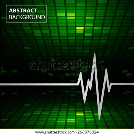 Abstract heart beats cardiogram. Pulse icon. green background. Mosaic table, pixels - stock vector