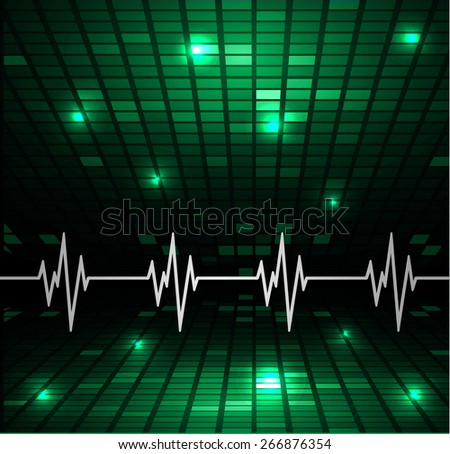 Abstract heart beats cardiogram.. Pulse icon. green background. Mosaic table, pixels - stock vector