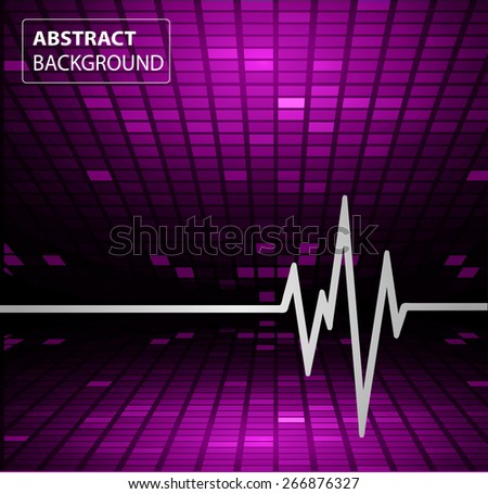 Abstract heart beats cardiogram.. Pulse icon.purple background. Mosaic table, pixels
