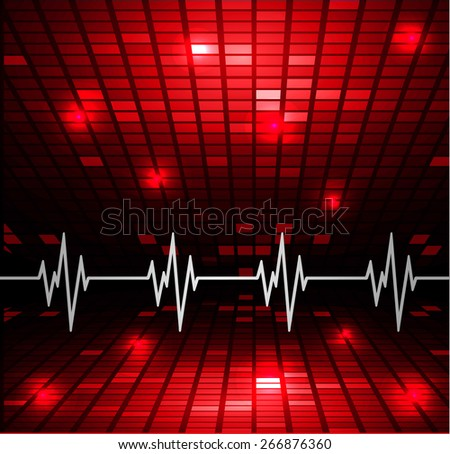 Abstract heart beats cardiogram.. Pulse icon. red background. Mosaic table, pixels - stock vector