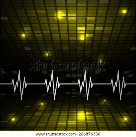 Abstract heart beats cardiogram.. Pulse icon. yellow background. Mosaic table, pixels - stock vector