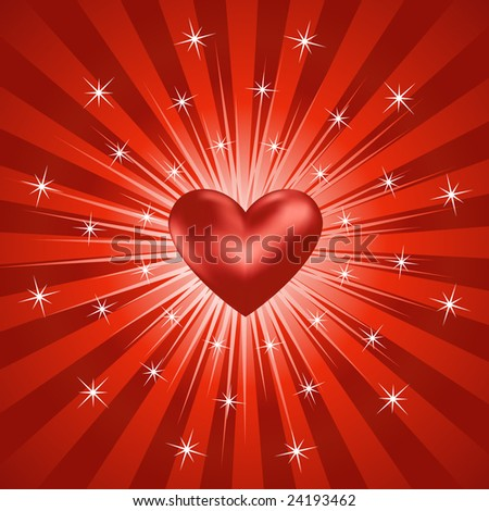 Abstract Heart Burst Background (Vector)