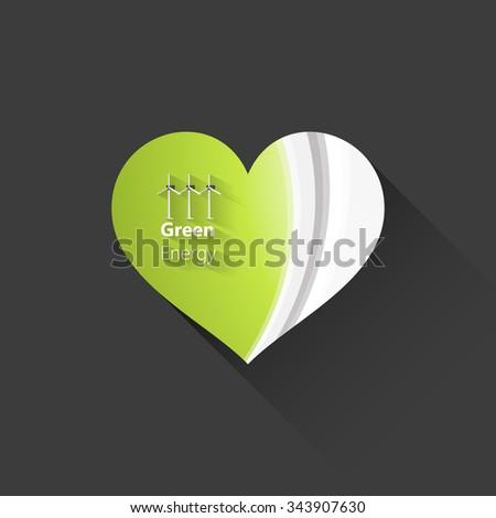 Abstract heart, green wave vector design  - stock vector