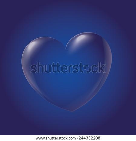 Abstract Heart Icon, blue - stock vector