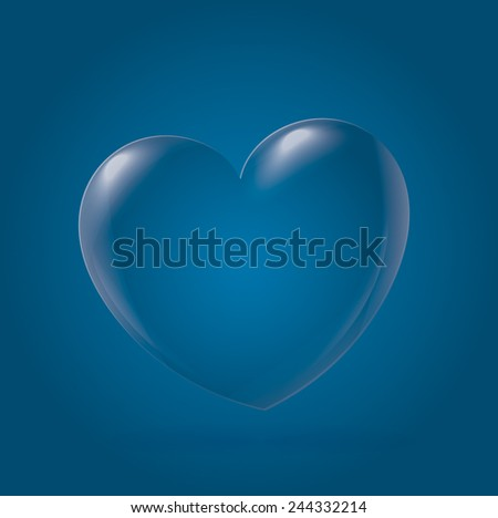 Abstract Heart Icon, cyan - stock vector