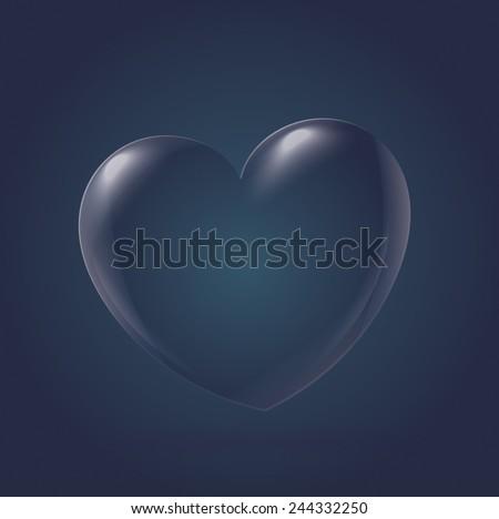 Abstract Heart Icon, navy - stock vector