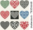 abstract heart icons, vector design elements for scrapbooking - stock vector