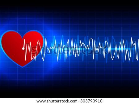 abstract heart rhythm ekg technology background - stock vector