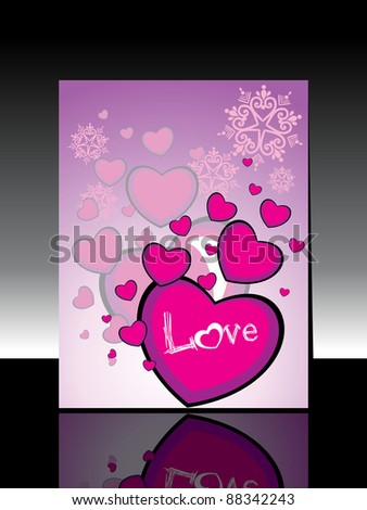 abstract heart shape concept design with text love greeting card for happy new year - stock vector