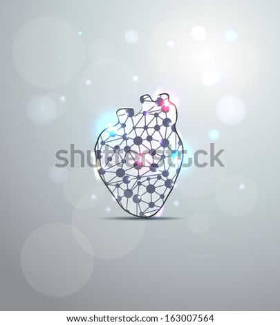 Abstract heart shape illustration, scientific design. - stock vector