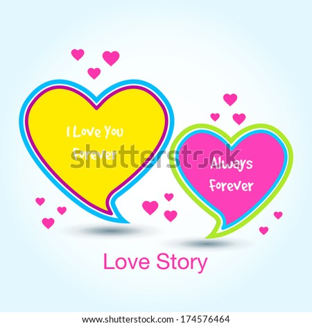 Abstract heart shape speech bubble / Colorful glossy heart shape speech bubble / Valentine's day heart shape speech bubble