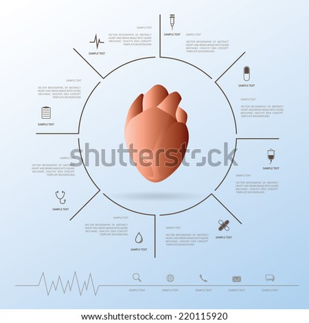 Abstract heart with medical icons set. Vector healthy info graphic concept for template design to presentation. - stock vector
