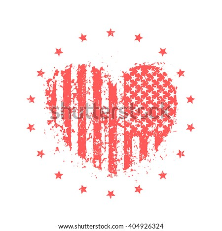 abstract heart with usa flag, american patriotic sign, t-shirt print on white, vector illustration - stock vector