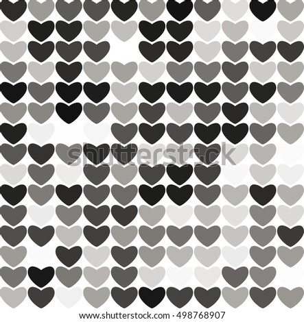 Abstract hearts black and white vector background