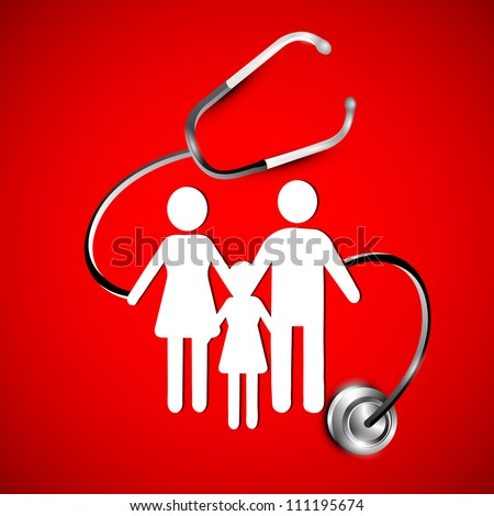 Abstract heath care background with white silhouette of a family under stethoscope. EPS 10. , - stock vector